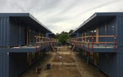 The new classrooms for Charter Learning Center. They are made out of recycled shipping containers and are located above the Tierra Linda Middle School/Charter Learning Center campus.