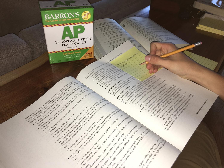 A high school students prepares for their AP European exam.