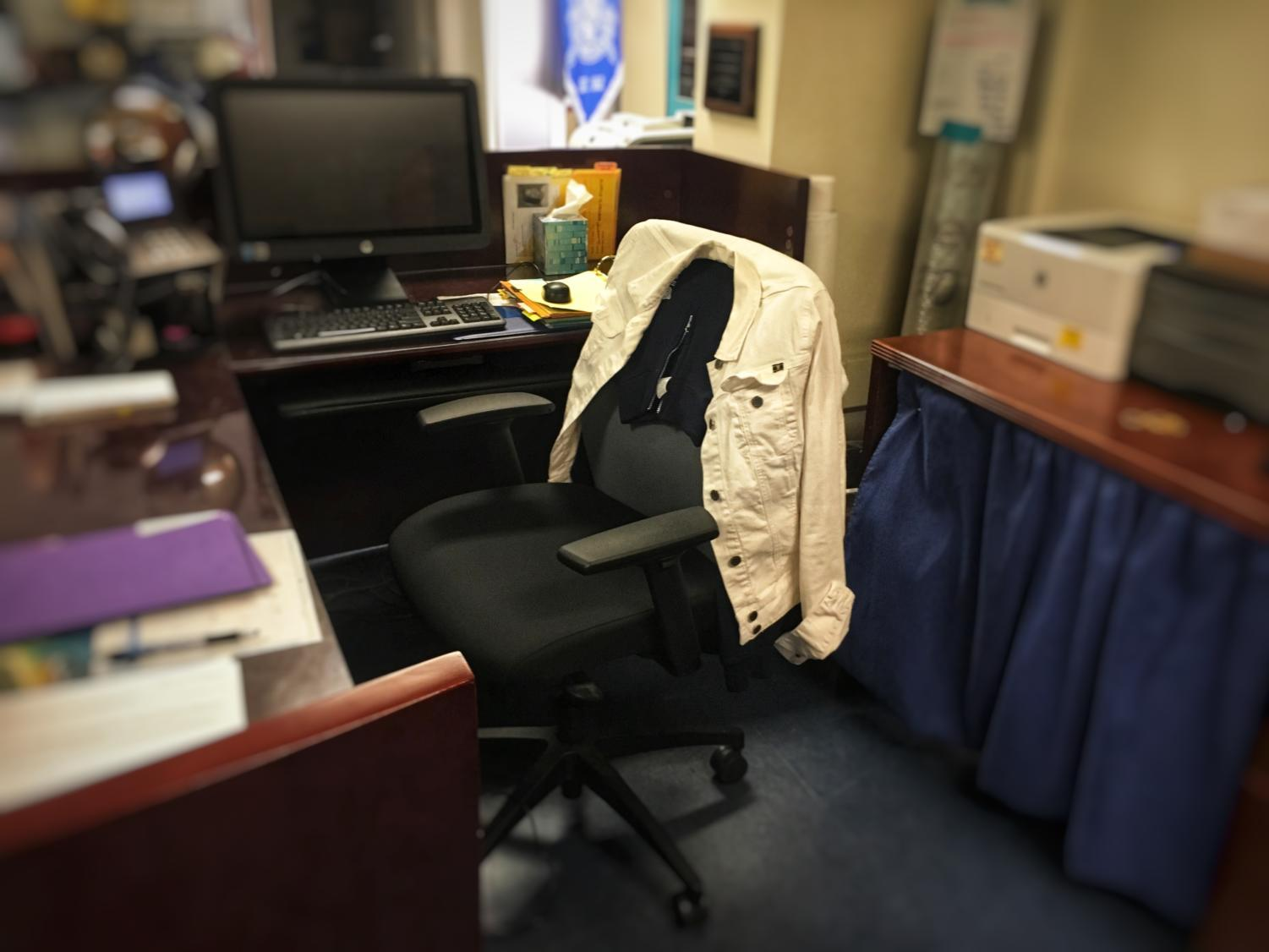 The chair of Ralph Crame's secretary remains empty until a permanent replacement is found.