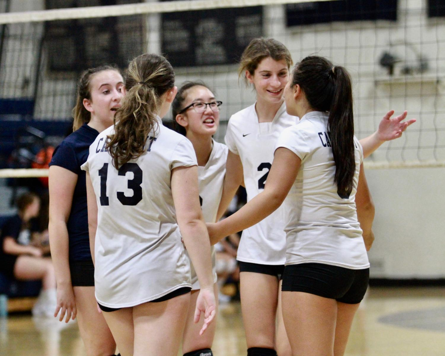 Carlmont's freshman volleyball team had strong communication in their third game against Sacred Heart Preparatory.