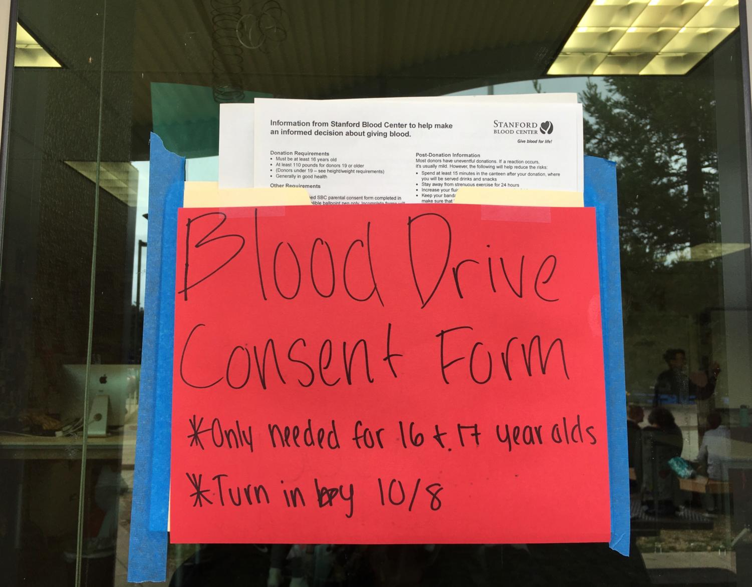 The Blood Drive applications can be turned in next to the ASB room.
