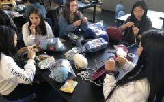 Emily Kim, a sophomore, and  some of her friends talk and knit during lunch.