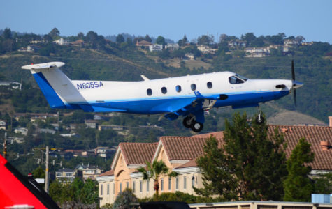 One of Surf Air's fleet of Pilatus PC-12 aircraft departs from San Carlos Airport.