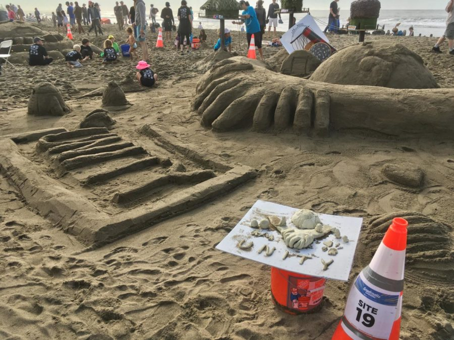 A team uses the idea of unity and clasping hands to represent this year's Leap Sandcastle Classic theme.