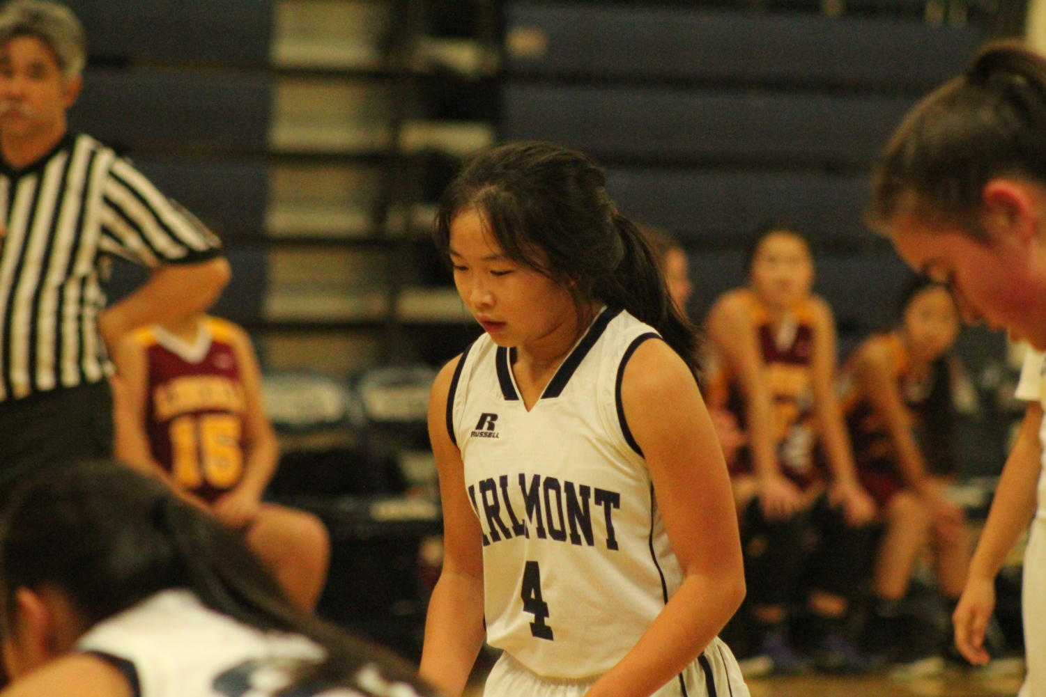Morgan Yee, a junior, takes her time before shooting her free throw.
