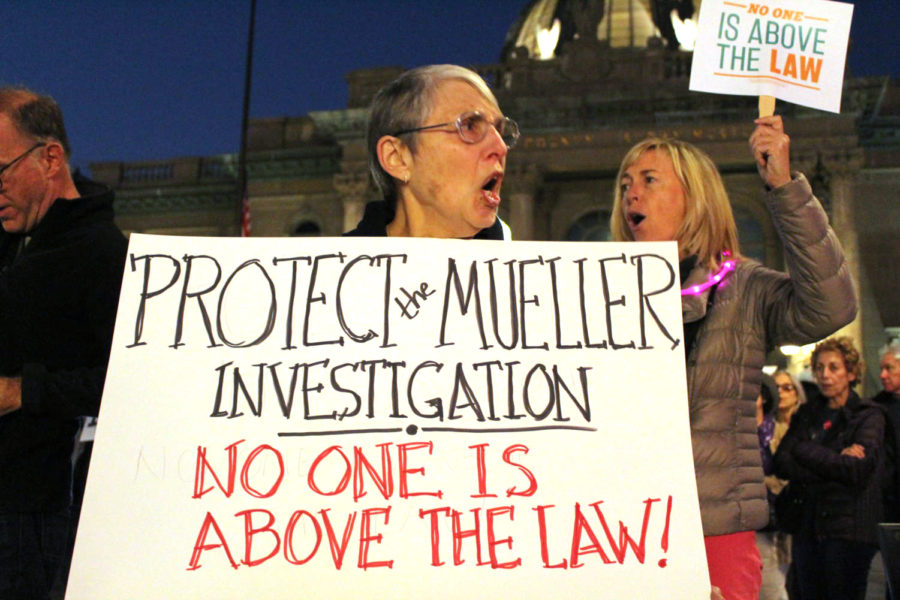 Citizens+in+Redwood+City+joined+protesters+across+the+nation+calling+for+protection+for+the+Mueller+investigation.+