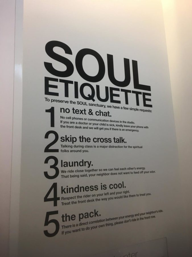 The+Soul+Etiquette+in+the+locker+room+is+emphasized+on+this+sign.+These+rules+connect+to+the+community+that+SoulCycle+tries+to+build.+