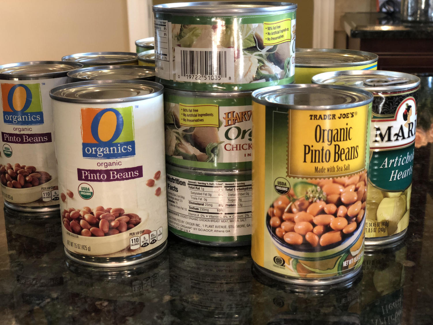 An example of canned foods that can be donated to the food drive.