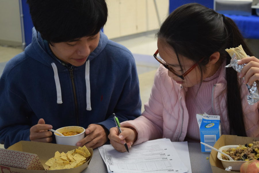 Melody Liu, a junior, helps Lou Bao, a senior, with his homework at lunch.