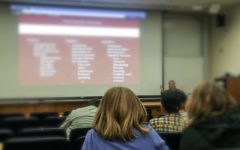 A Stanford Splash student listens to a lecture about schizophrenia and psychosis.