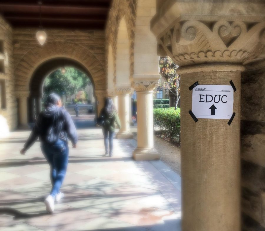 Paper signs are posted around the Stanford campus to help Splash students find their way to their classes.
