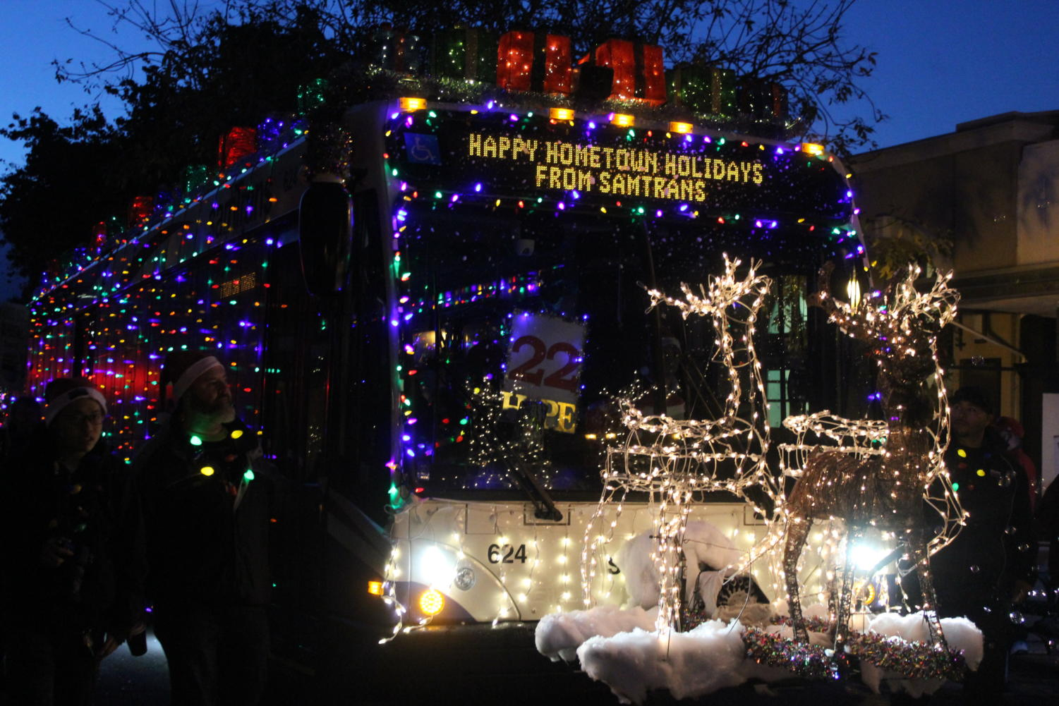 In the Hometown Holidays festival, a SamTrans bus with Christmas lights drives through the parade. Hometown Holidays is held annually on the first Saturday in December.
