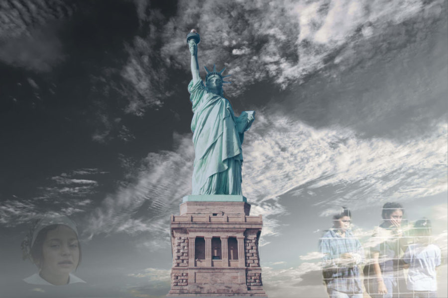 The Statue of Liberty stands tall, representing the freedom of America.