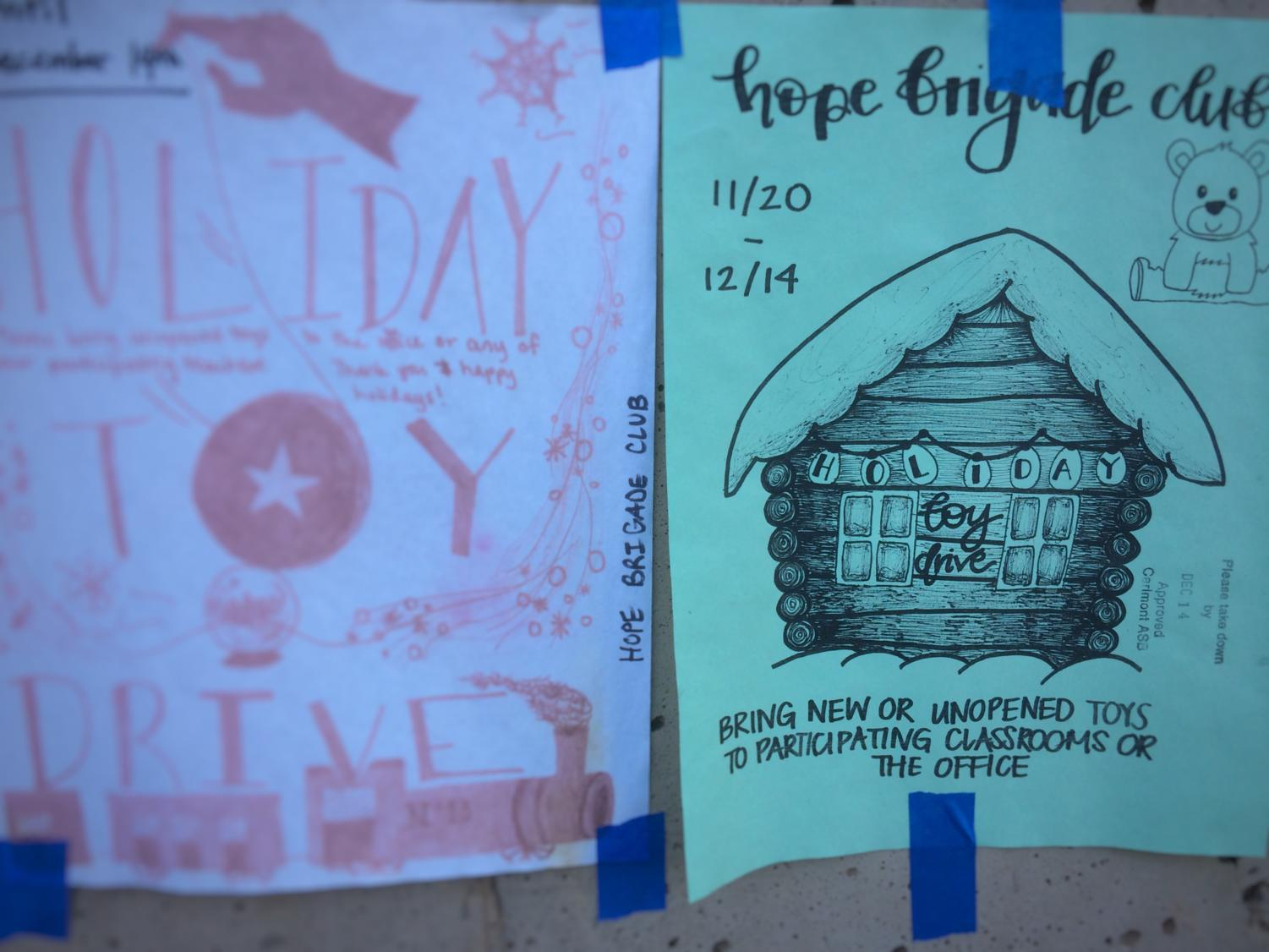Hope Brigade Club advertises the toy drive by creating flyers and posting them around Carlmont.