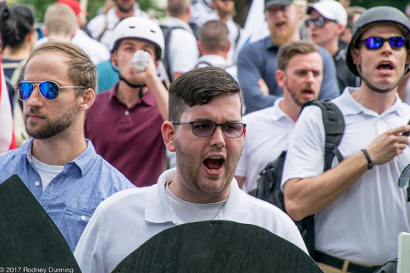 James Alex Fields Jr., joins marchers in Charlottesville for the Unite the Right rally.
