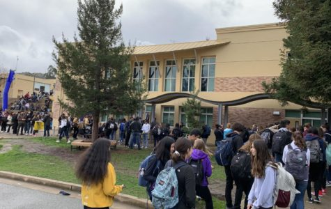 Students line up to get their tickets to winter formal.