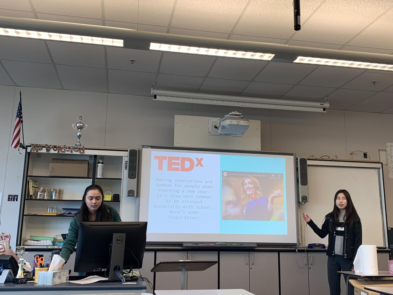 Girls Who Code Club start their first meeting of the semester with a TED talk.