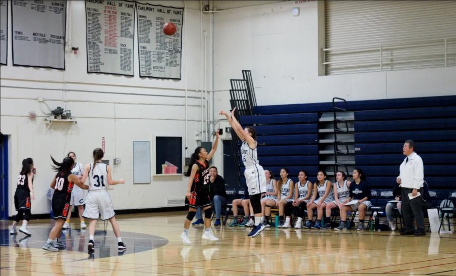 Ashley Trierweiler, a senior, goes for a 3-point shot.