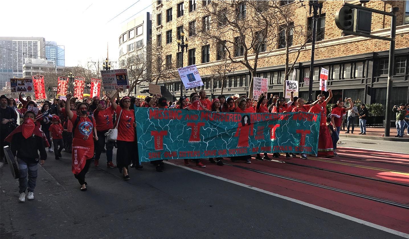 Indigenous women lead the Women's March San Francisco 2019.