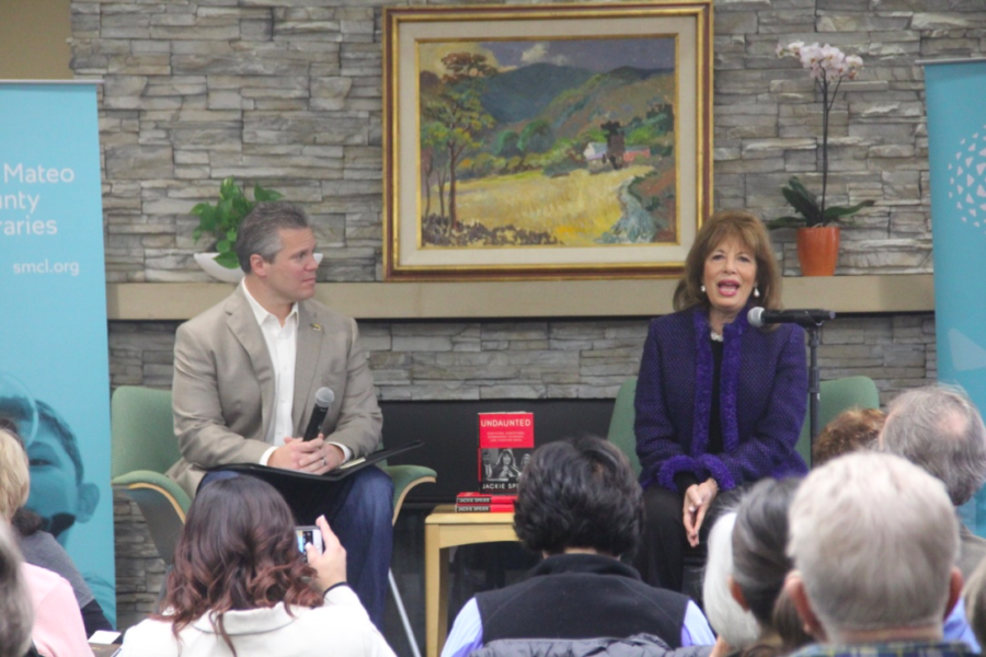 Jackie Speier and Charles Stone speak about resilience and Speier's experiences. After talking about herself, Speier signed copies of her book for the audience.