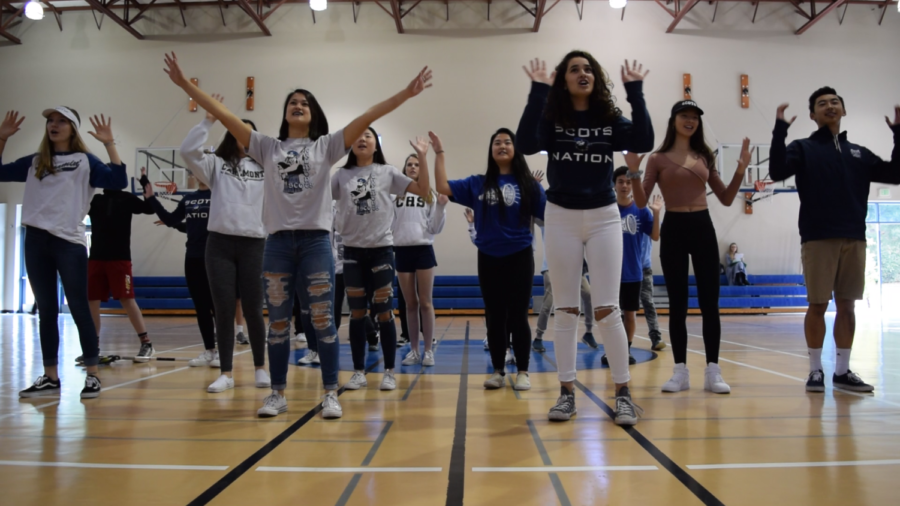 Naya+Salah+and+Amelia+Hsich%2C+both+sophomores%2C+dance+with+other+students+for+their+campaign+video.+