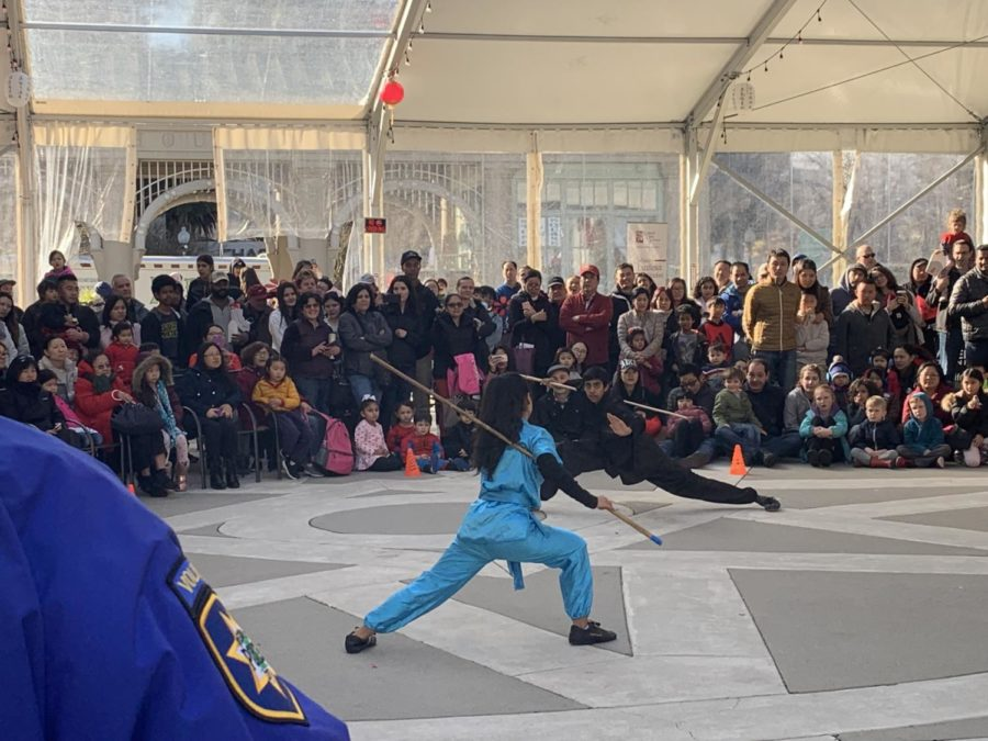 Kung Fu artists show off their skills using different props.