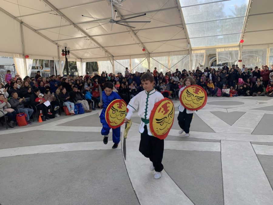Students from the John Gills immersion program dance with shields.