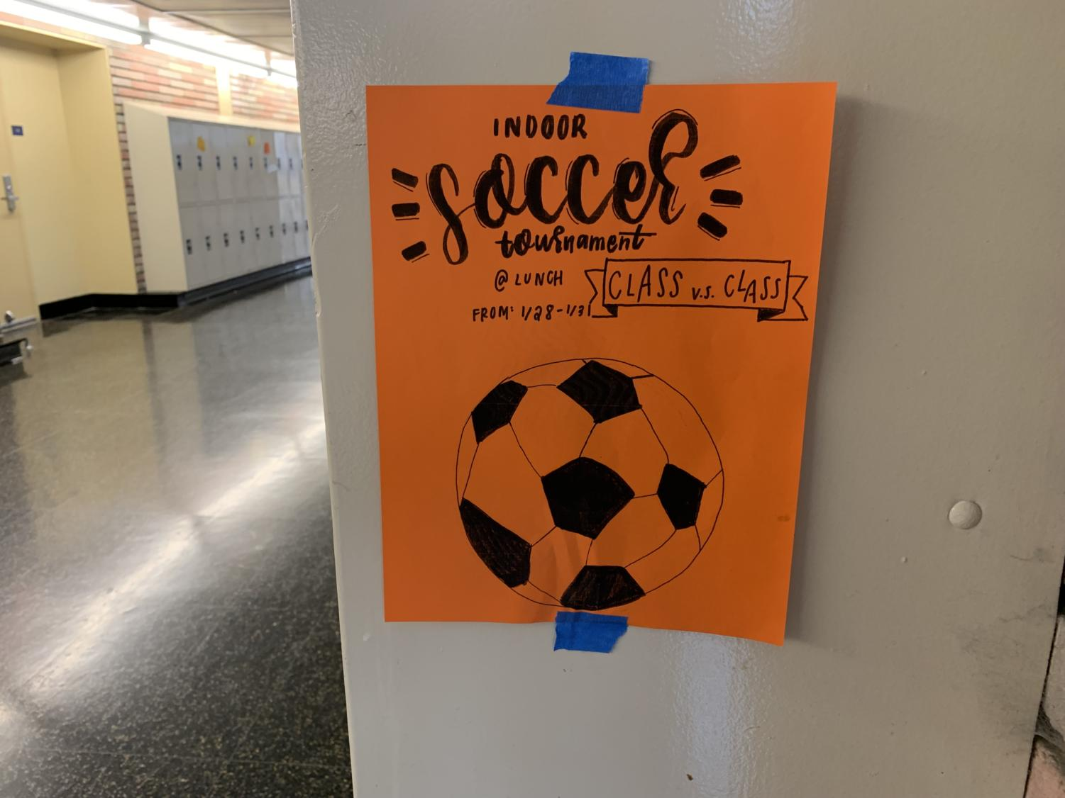 The indoor soccer tournament was the first of three tournaments.
