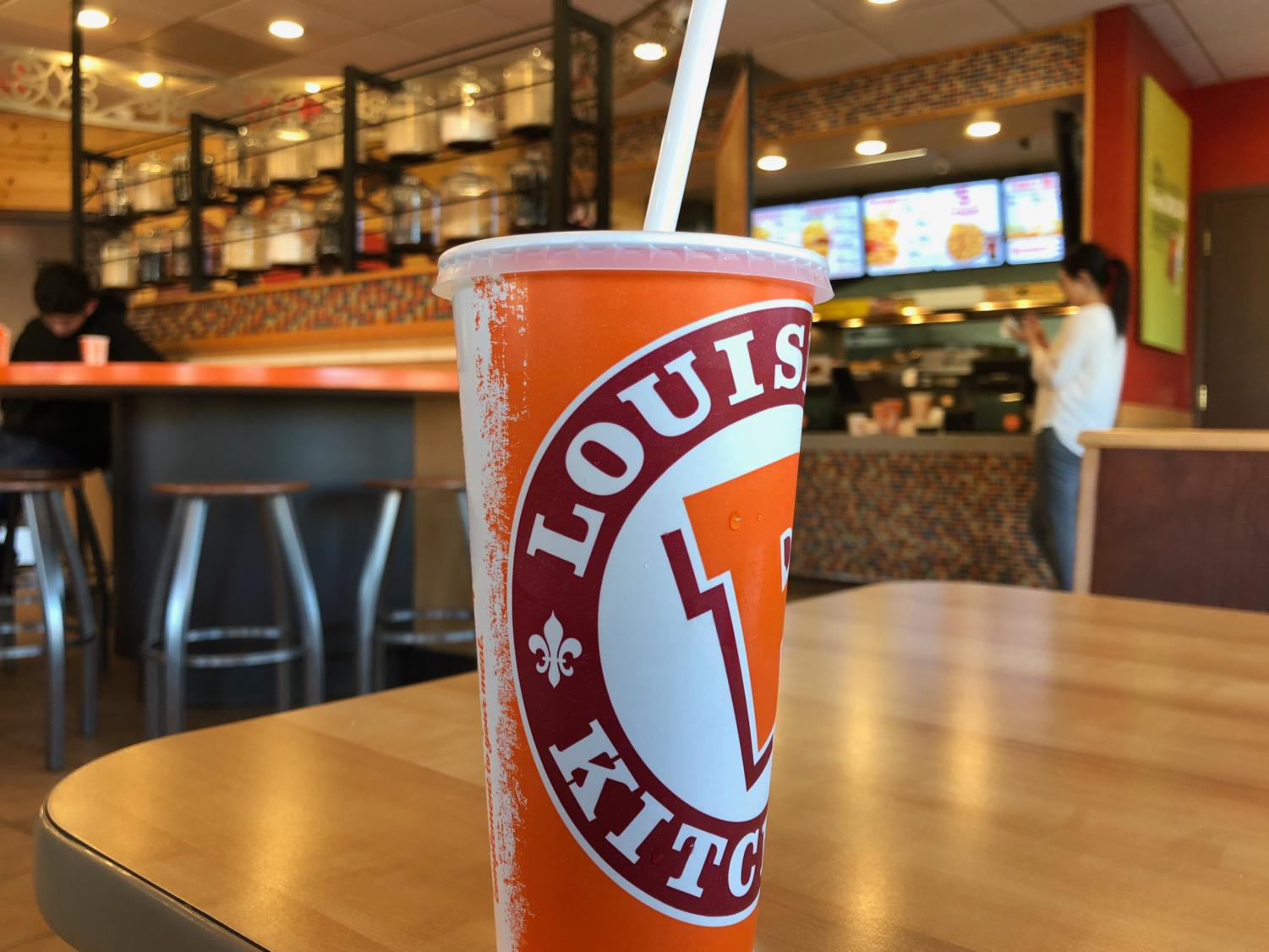 Popeyes has a place where you can get fountain drinks.