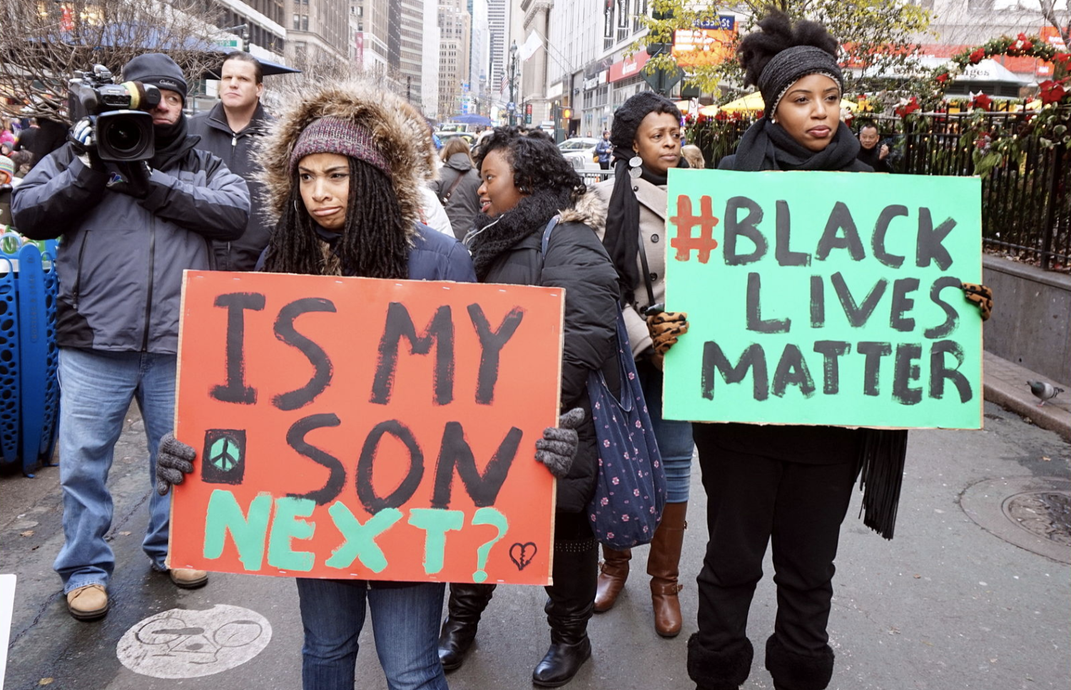 Women protest at a Black Lives Matter rally in New York City.