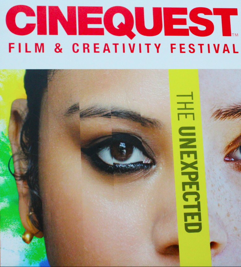 A poster advertises the Conquest Film and Creativity Festival at the Century 20 Theater in Downtown Redwood City.