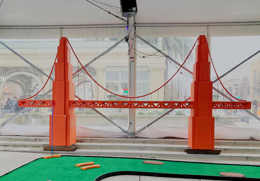 Redwood City's new community event incorporates a replica of the Golden Gate in their family orientated mini-golf course.