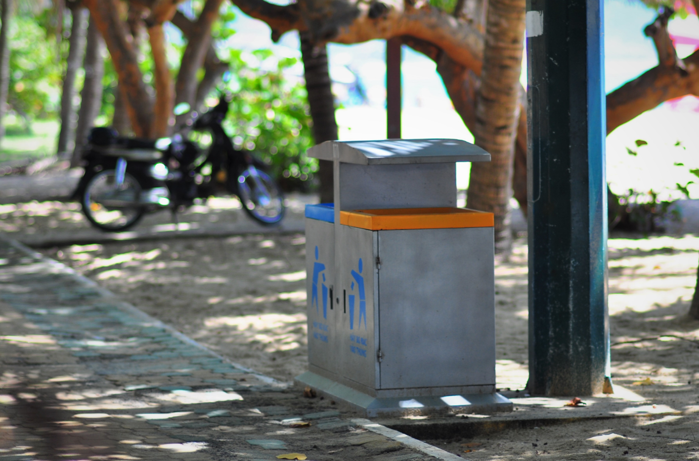 Organized trash bins encourage people to properly recycle and dispose their trash.