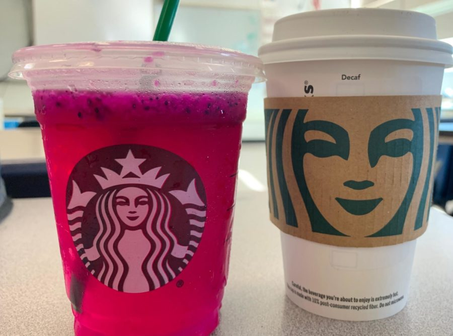 A+tall+%22Mango+Dragonfruit+Refresher%22+and+a+tall+%22Caramel+Macchiato%22+are+two+beverages+that+can+be+found+on+the+Starbucks+menu.+