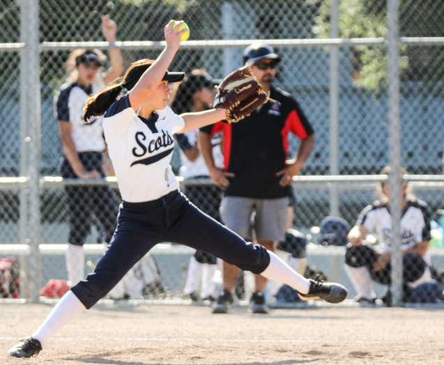 Bridget Matthews throws her first of the game in the seventh inning.