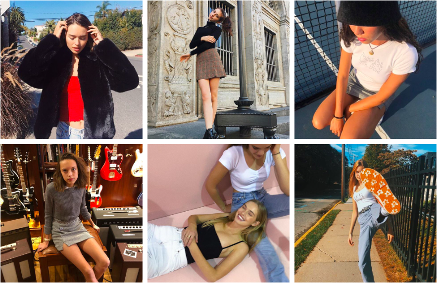A preview of Brandy Melville's lookbook showcases Brandy Girls wearing their