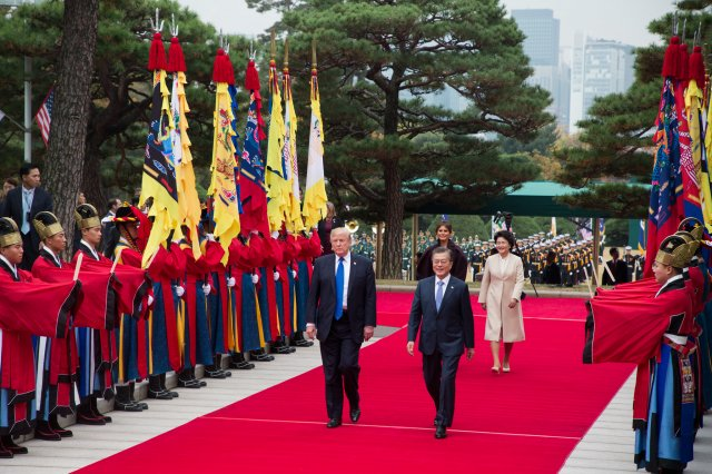 President Donald J. Trump and South Korean President Moon Jae-in, arrive at the Blue House in Seoul, South Korea on Nov. 7, 2017. Recent talks with Trump and Kim Jong-un have stalled, leaving both sides with nothing.