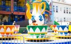 A boy enjoys the teacup ride at Mount Carmel's Wild West Days 2019 festival.