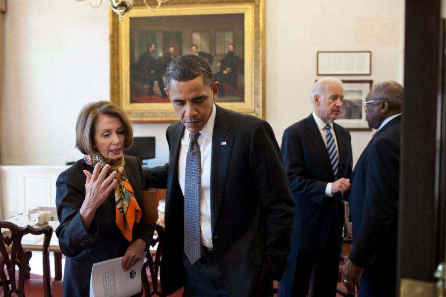 Former president Barack Obama speaks with Speaker of the House, Nancy Pelosi, one of the main supporters of the Equality Act.