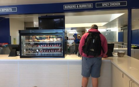 The cafeteria during passing period sees few people buying lunch.