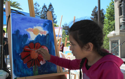A girl paints a flower on her canvas.