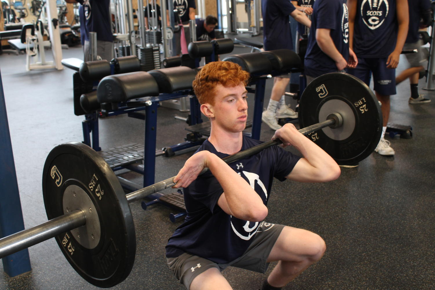 Sophomore+Sean+McKenna+front-squats+during+his+workout.