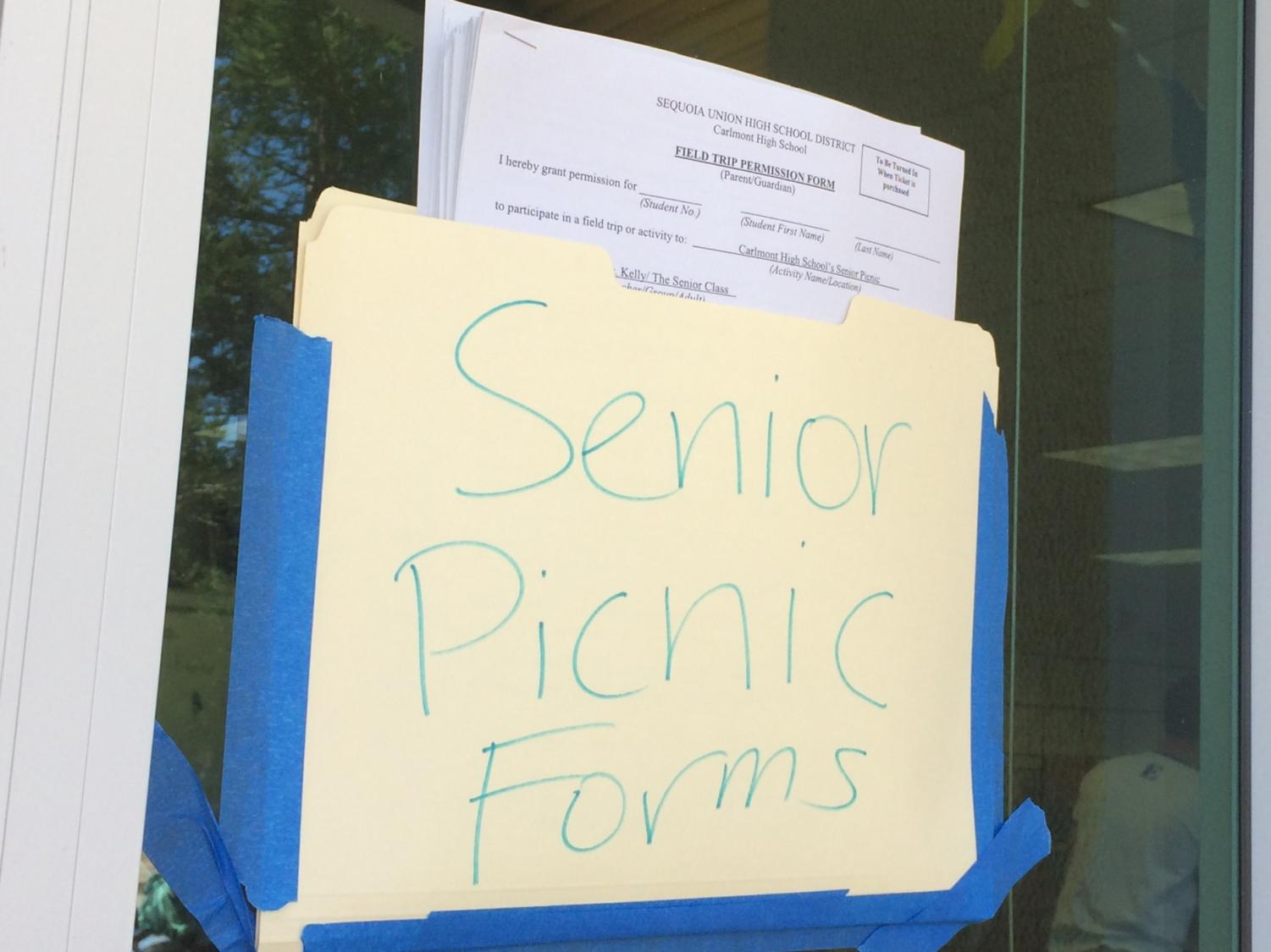 Seniors can pick up the form that needs to be completed for the trip outside of the ASB room.