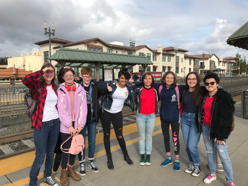 Students pose outside the San Carlos Train Station, where they would take the train to San Francisco.