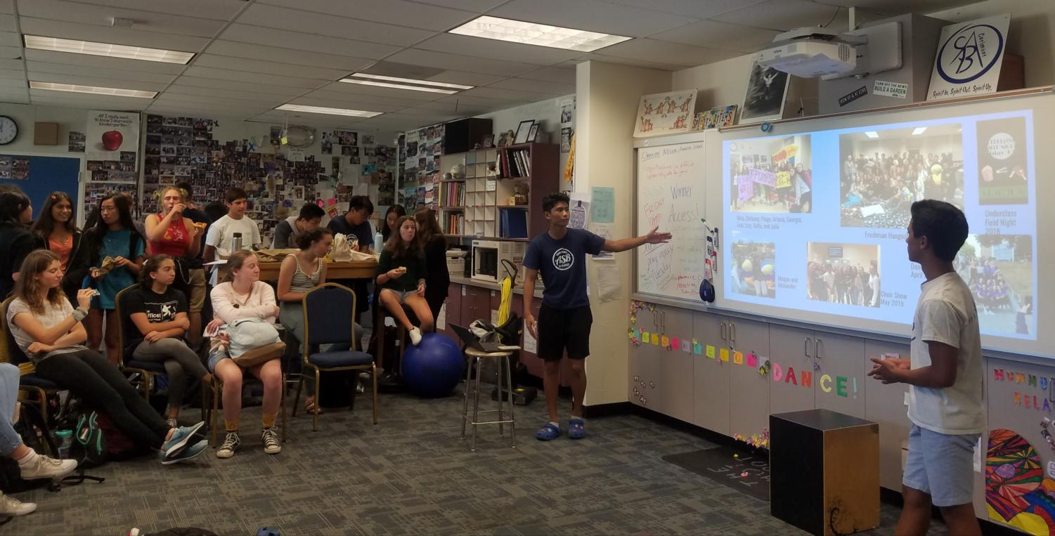 Sophomore class officers talk about the upcoming school spirit events in their presentation.