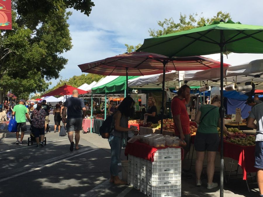 People enjoy the good weather and sample the local produce