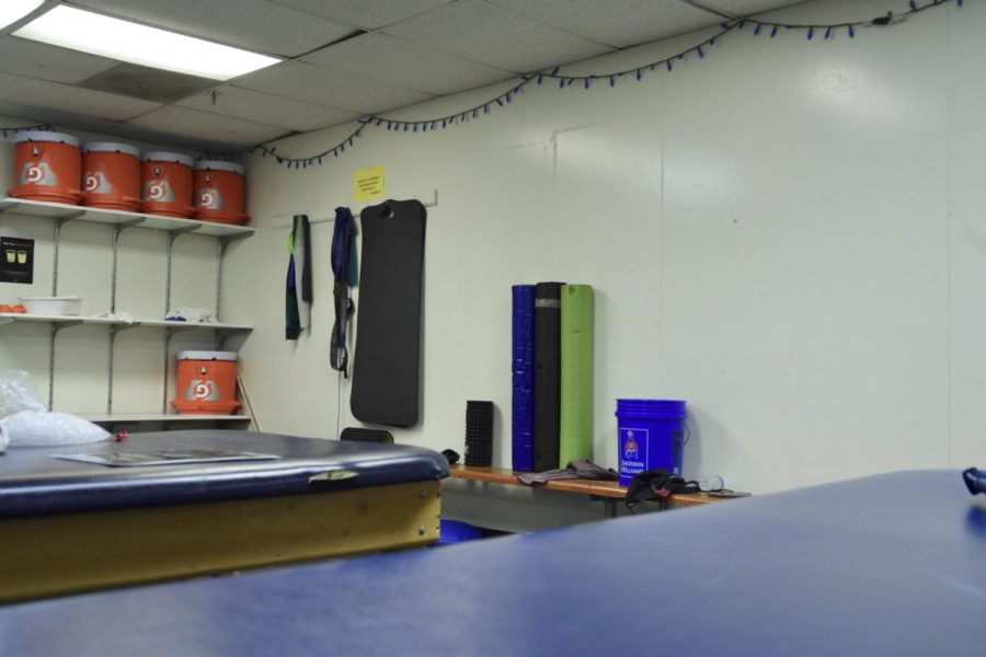 The+athletic+trainer%27s+room+is+located+under+the+gym+facing+the+football+field.+Many+athletes+go+here+for+assistance.+