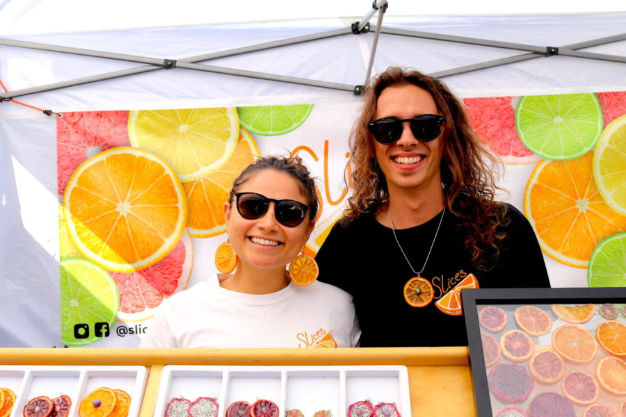 Leah+Sachs+and+Eric+Shannon+represent+their+company%2C+Slices+of+Citrus%2C+at+the+World+Vegetable+Festival.