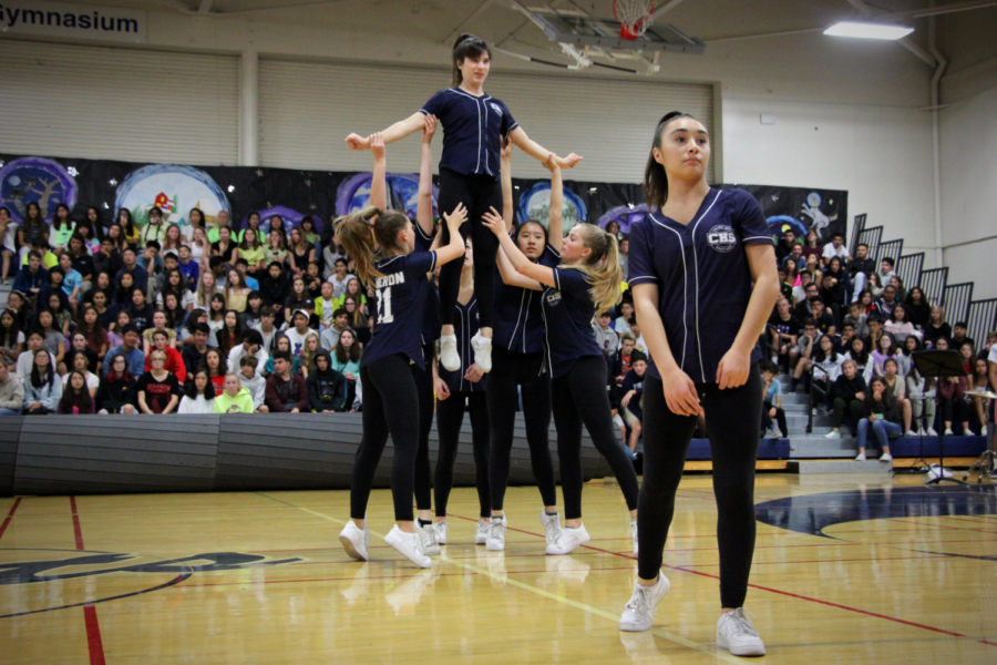 Carlmont's varsity dance team performs a new self-choreographed dance routine.