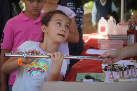 Seven-year-old Brianna Crozly learns how to play and hold a flute from a volunteer at the Instrument Petting Zoo.